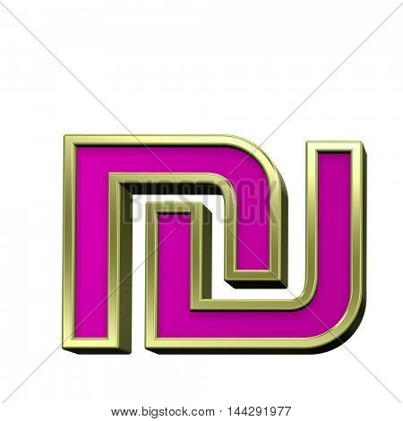 Sheqel sign from pink with gold shiny frame alphabet set, isolated on white. 3D illustration.