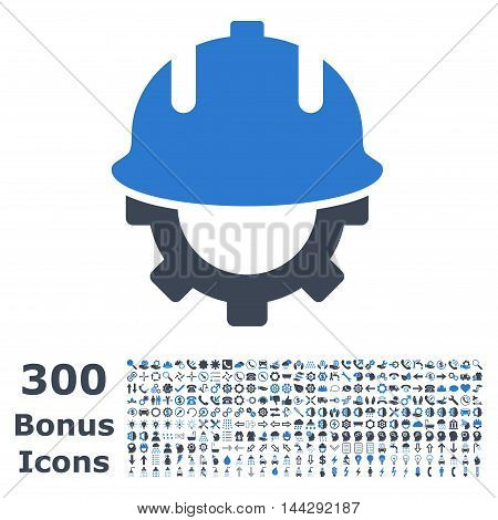 Development Helmet icon with 300 bonus icons. Vector illustration style is flat iconic bicolor symbols, smooth blue colors, white background.