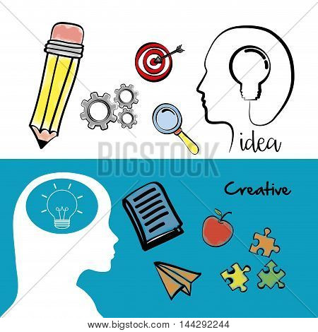 pencil bulb head gear lupe target apple puzzle big and great idea creativity icon set. Sketch and draw design. Vector illustration