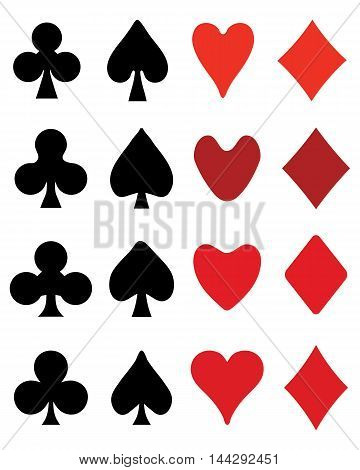 Set of symbols of playing card, vector