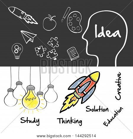 head bulb rocket paperplane apple puzzle big and great idea creativity icon set. Sketch and draw design. Vector illustration