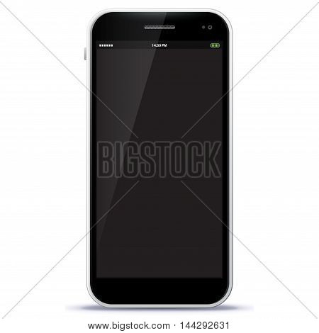 Black Mobile Phone Vector Illustration isolated on white.