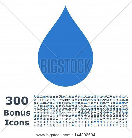 Drop icon with 300 bonus icons. Vector illustration style is flat iconic bicolor symbols, smooth blue colors, white background.