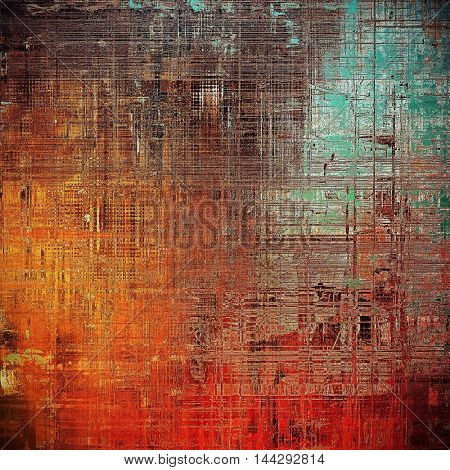 Vintage style background with ancient grunge elements. Aged texture with different color patterns: green; blue; red (orange); yellow (beige); brown; pink