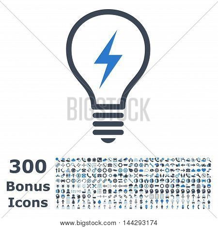 Electric Bulb icon with 300 bonus icons. Vector illustration style is flat iconic bicolor symbols, smooth blue colors, white background.