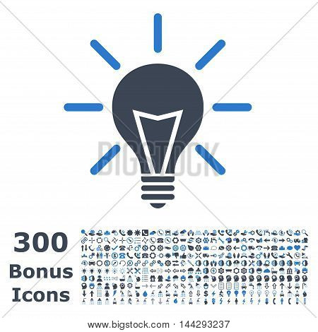Electric Light icon with 300 bonus icons. Vector illustration style is flat iconic bicolor symbols, smooth blue colors, white background.