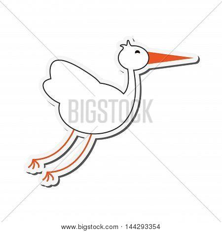 flat design flying stork icon vector illustration