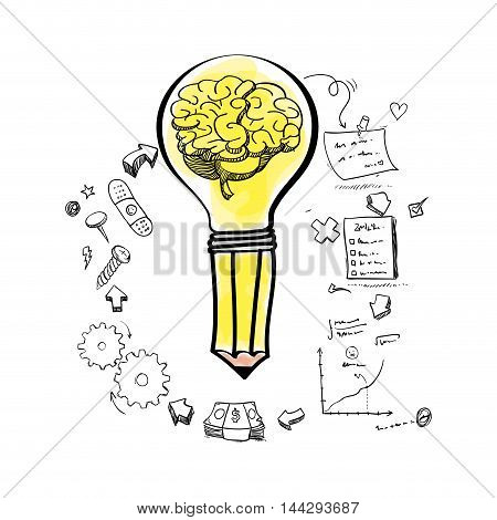 brain pencil bulb gears paper infographic big and great idea creativity icon set. Sketch and draw design. Vector illustration