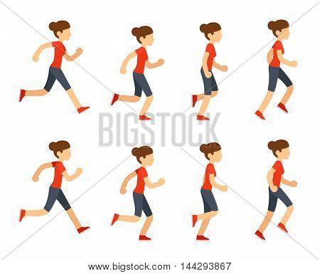 Running woman animation sprite set. 8 frame loop. Flat cartoon style vector illustration.