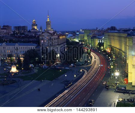 Illuminated Khreshchatyk street. Top view. Kiev Ukraine.