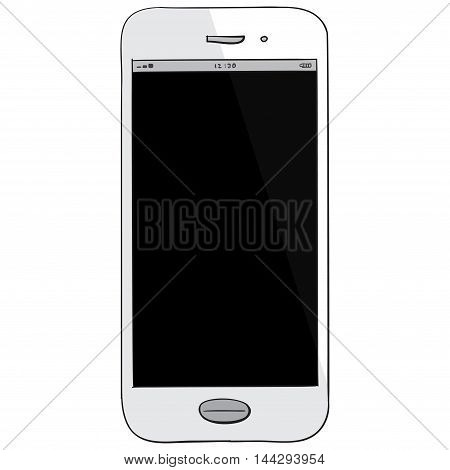 White Smart Phone vector drawing illustration isolated on white.