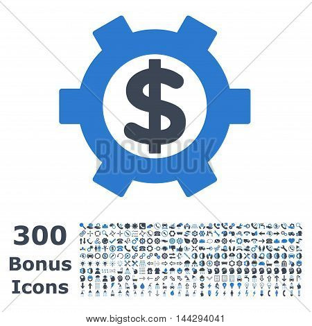 Financial Settings icon with 300 bonus icons. Vector illustration style is flat iconic bicolor symbols, smooth blue colors, white background.