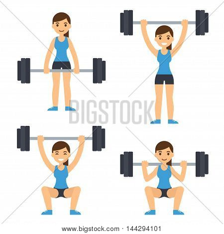Cartoon woman barbell training. Weight lifting exercises: squat deadlift overhead press. Flat vector style fitness illustration.