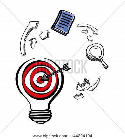 target bulb lupe book big and great idea creativity icon set. Sketch and draw design. Vector illustration