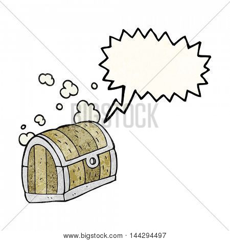freehand drawn texture speech bubble cartoon treasure chest