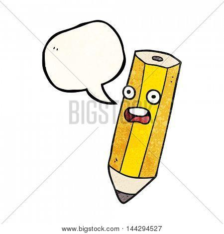 happy freehand drawn texture speech bubble cartoon pencil