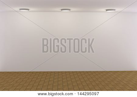 3d rendering of white empty room with light bulbs