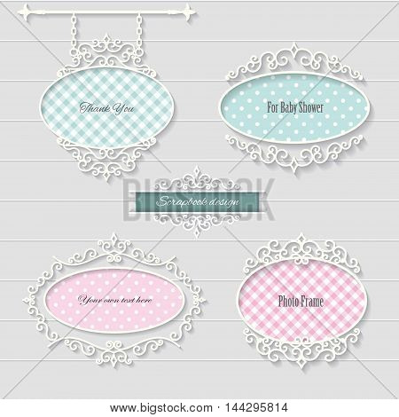Cute oval frames and signboard. Scrapbook design elements.