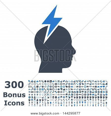 Headache icon with 300 bonus icons. Vector illustration style is flat iconic bicolor symbols, smooth blue colors, white background.