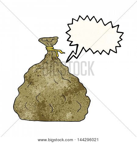 freehand speech bubble textured cartoon tied sack