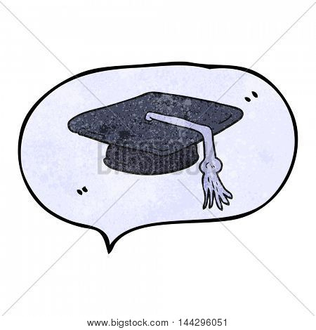 freehand speech bubble textured cartoon graduation cap