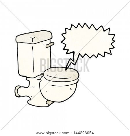 freehand speech bubble textured cartoon toilet