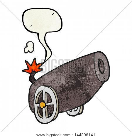 freehand speech bubble textured cartoon cannon