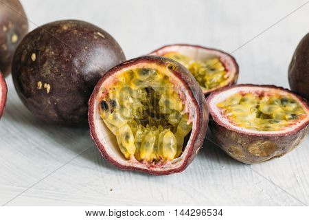 Fresh juicy passion fruits. Tropic fruit concept