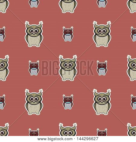 Brown and orange sticker-like owls seamless pattern. Nice and simple illustration