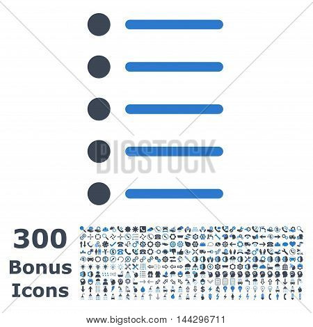 Items icon with 300 bonus icons. Vector illustration style is flat iconic bicolor symbols, smooth blue colors, white background.