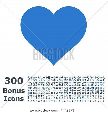 Love Heart icon with 300 bonus icons. Vector illustration style is flat iconic bicolor symbols, smooth blue colors, white background.