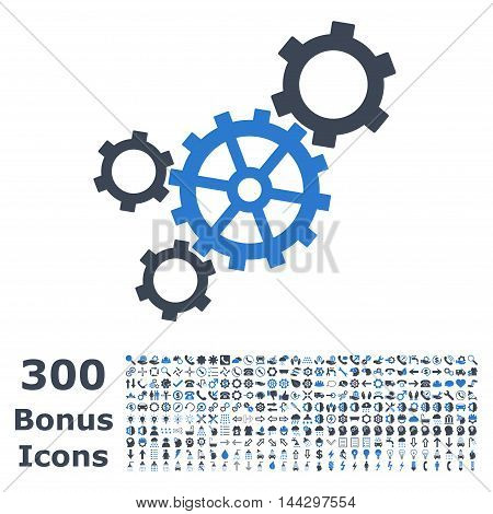 Mechanism icon with 300 bonus icons. Vector illustration style is flat iconic bicolor symbols, smooth blue colors, white background.