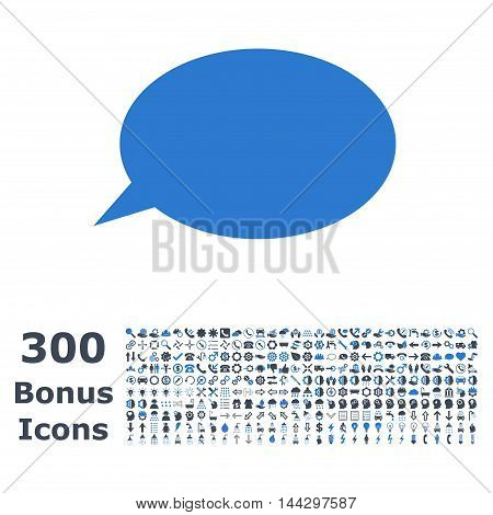 Message Cloud icon with 300 bonus icons. Vector illustration style is flat iconic bicolor symbols, smooth blue colors, white background.