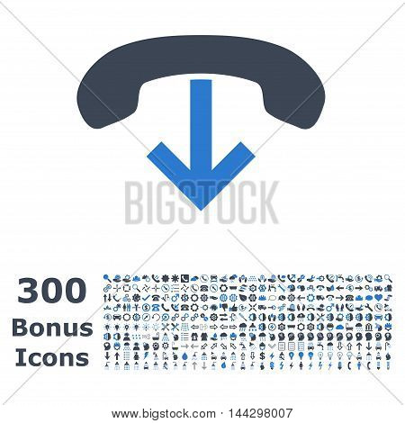 Phone Hang Up icon with 300 bonus icons. Vector illustration style is flat iconic bicolor symbols, smooth blue colors, white background.