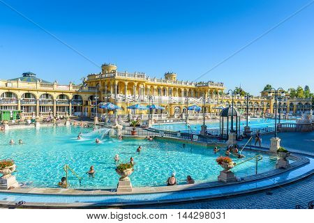 BUDAPEST, HUNGARY - AUG 18, 2014: Pool of the Szechenyi Medicinal Bath complex , the largest medicinal bath in Europe, built in 1913