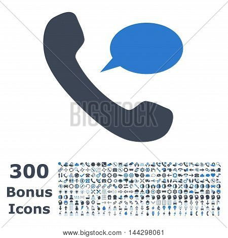 Phone Message icon with 300 bonus icons. Vector illustration style is flat iconic bicolor symbols, smooth blue colors, white background.