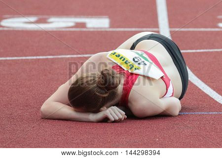 KAPFENBERG, AUSTRIA - AUGUST 8, 2015:  Sigrid Portenschlager (#49 Austria) participates in the national track and field championship.
