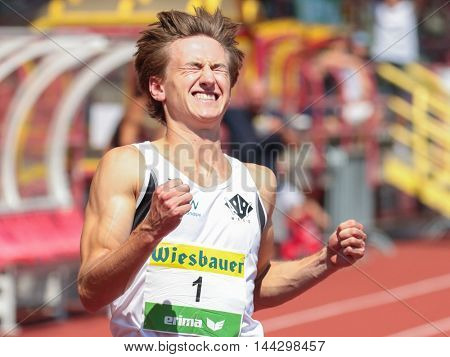 KAPFENBERG, AUSTRIA - AUGUST 9, 2015: Christoph Haslauer (#1 Austria) participates in the national track and field championship.