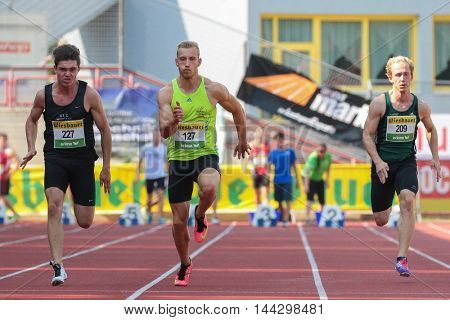 KAPFENBERG, AUSTRIA - AUGUST 8, 2015: David Goettinger (#127 Austria) participates in the national track and field championship.