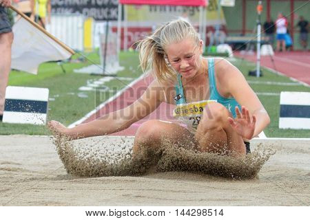 KAPFENBERG, AUSTRIA - AUGUST 8, 2015: Sarah Lagger (#280 Austria) participates in the national track and field championship.