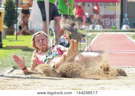 KAPFENBERG, AUSTRIA - AUGUST 9, 2015: Michaela Egger (#239 Austria) participates in the national track and field championship.