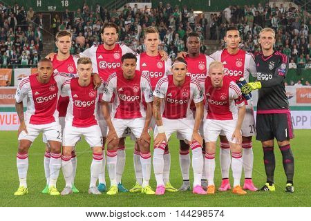 VIENNA, AUSTRIA - JULY 29, 2015: The Team of Ajax Amsterdam poses before an UEFA Champions League qualification game.