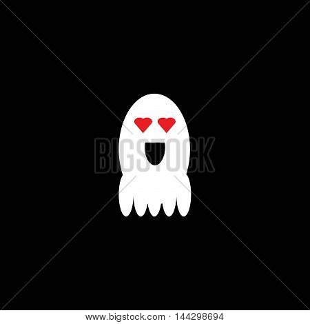 Cute little ghost, emoticon.Falling in Love - Cartoon Smiley Vector Face