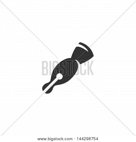 Vector Ink pen icon isolated on a white background. Ink pen logo in flat style. Simple icon as element for design. Vector symbol, sign, pictogram, illustration