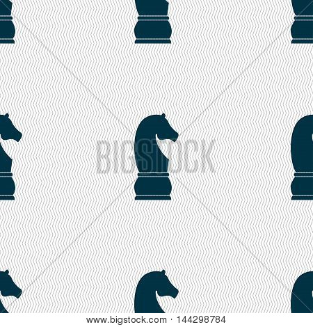 Chess Knight Icon Sign. Seamless Pattern With Geometric Texture. Vector
