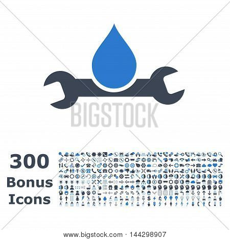 Plumbing icon with 300 bonus icons. Vector illustration style is flat iconic bicolor symbols, smooth blue colors, white background.