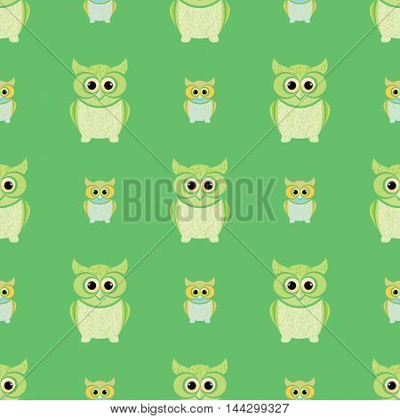 Green and yellow owls set. Nice and simple illustration