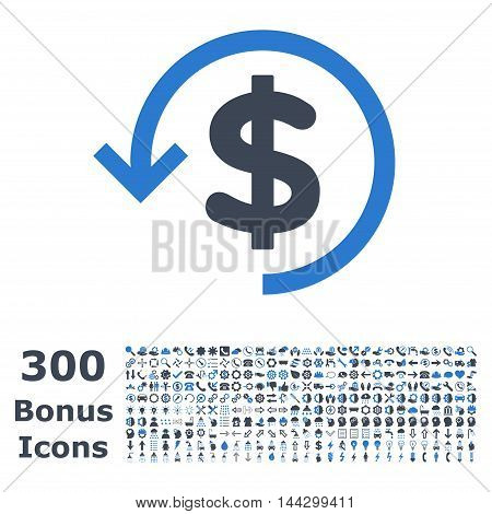 Refund icon with 300 bonus icons. Vector illustration style is flat iconic bicolor symbols, smooth blue colors, white background.
