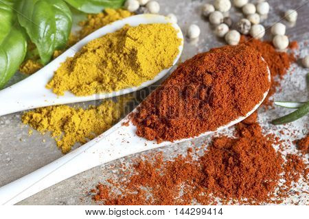Ground spices in the white ceramic spoons