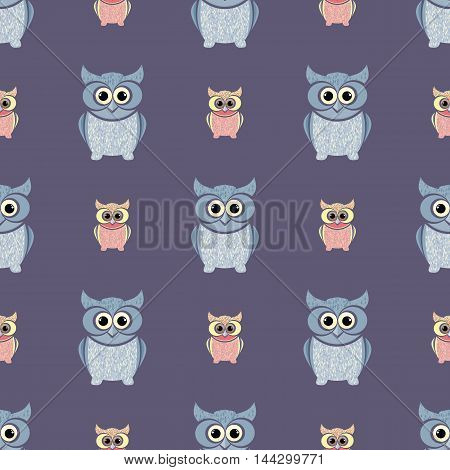 Gray and purple owls set. Nice and simple illustration